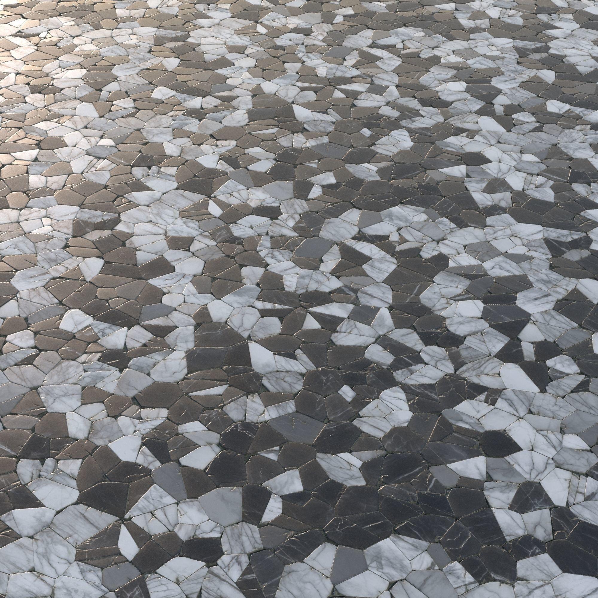 Broken Marble Tiles Mosaic Material Model Tga 1