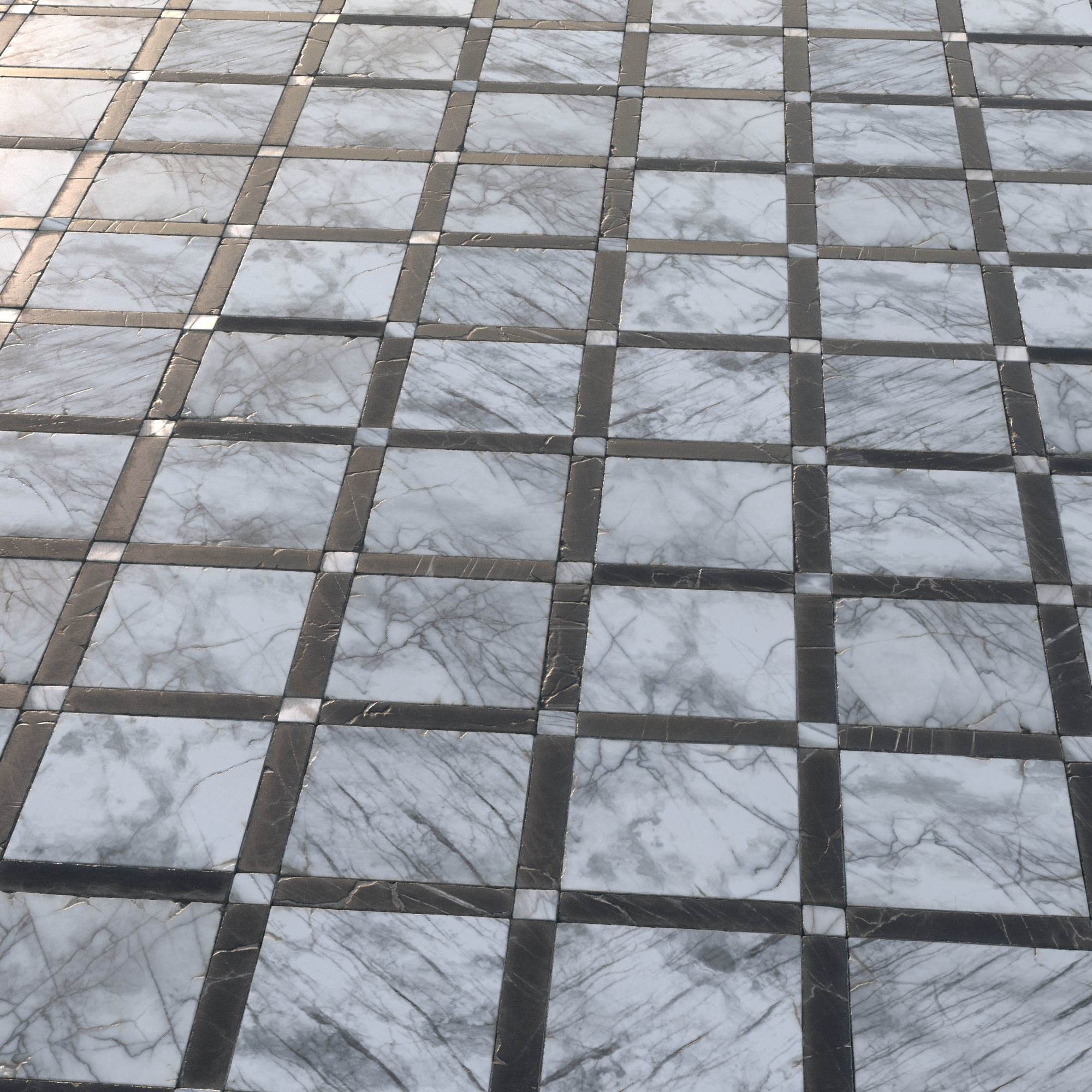3D asset Black and white grid marble tiles   CGTrader