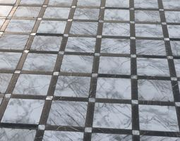 3D asset Black and white grid marble tiles