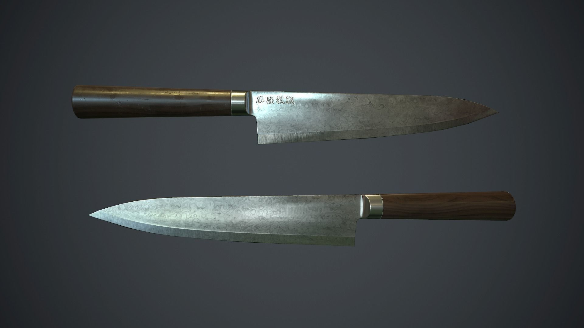 Damascus Kitchen Knife PBR Game Ready | 3D model