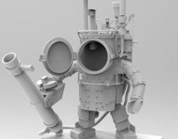 3d rigged steampunk robot