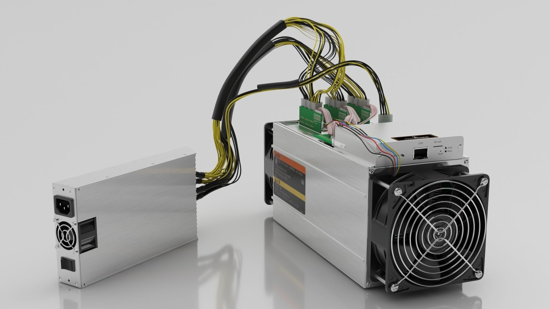 Antminer Cryptocurrency Mining Hardware and Power Supply