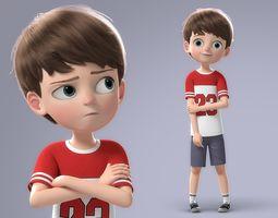 3D Cartoon Boy Rigged setup