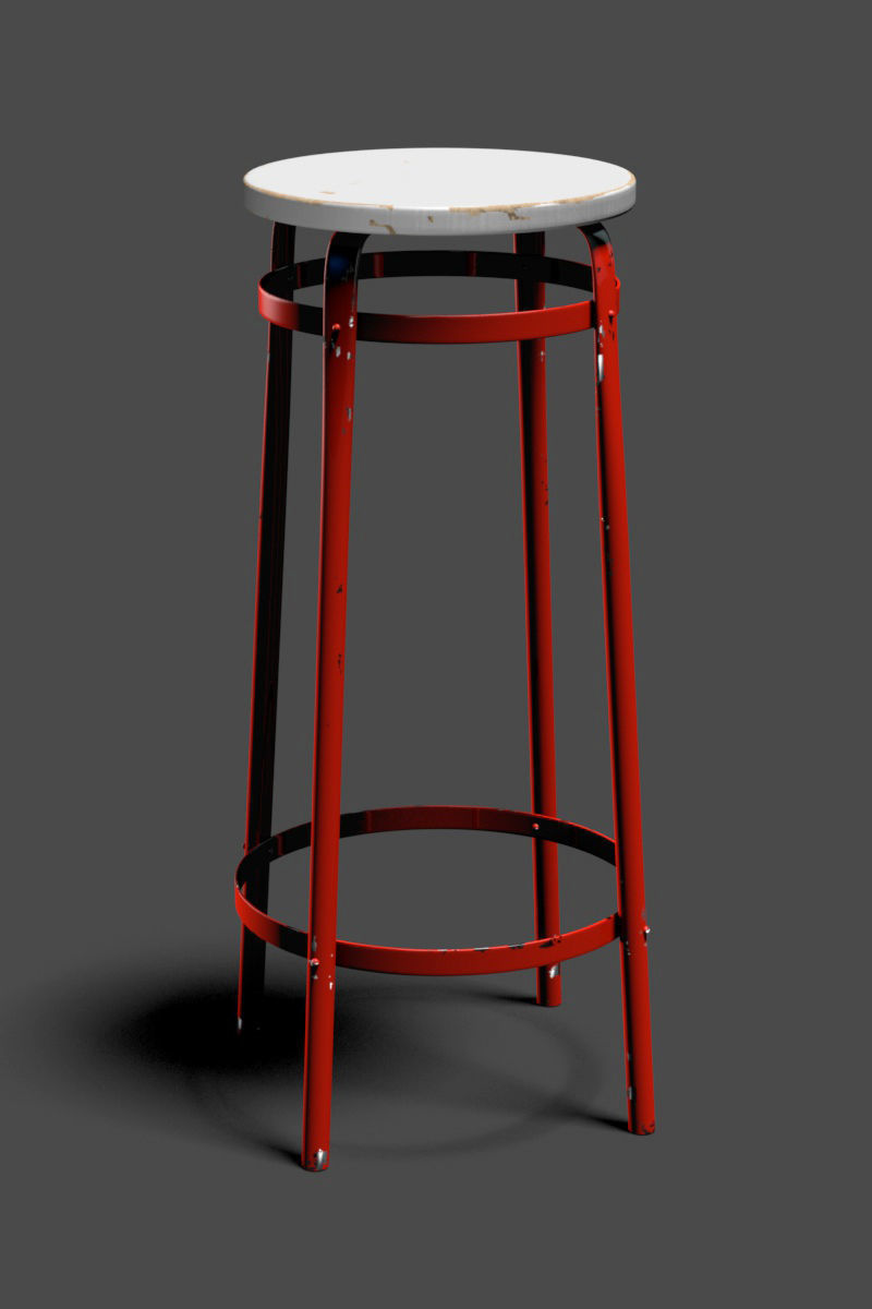 Awe Inspiring Red Worn Metal Stool 3D Model Machost Co Dining Chair Design Ideas Machostcouk