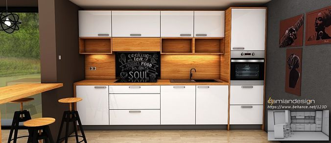 Contemporary Modern Kitchen Design 3d Model Obj 3ds Dae Skp Mtl 1 ...