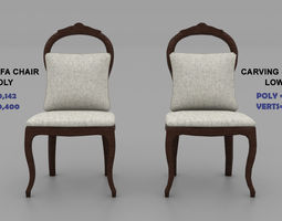3D Carving Sofa Chair- Highpoly and Lowpoly