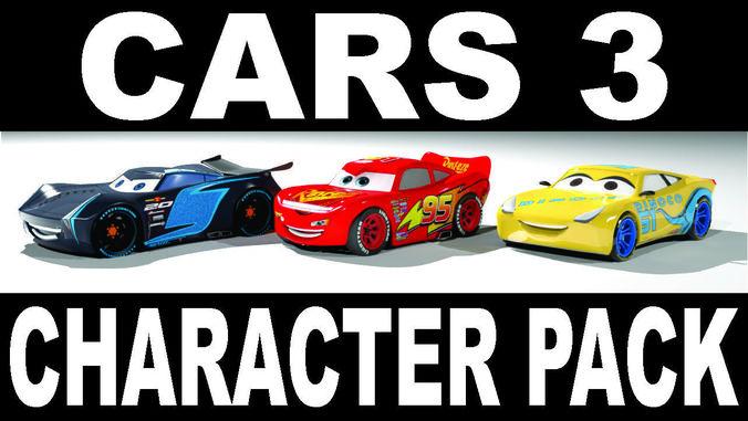 cars 3 character pack 3d 3d model low-poly max obj mtl 3ds fbx 1