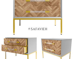 SANFORD WALNUT 2-DRAWER SIDE TABLE 3D