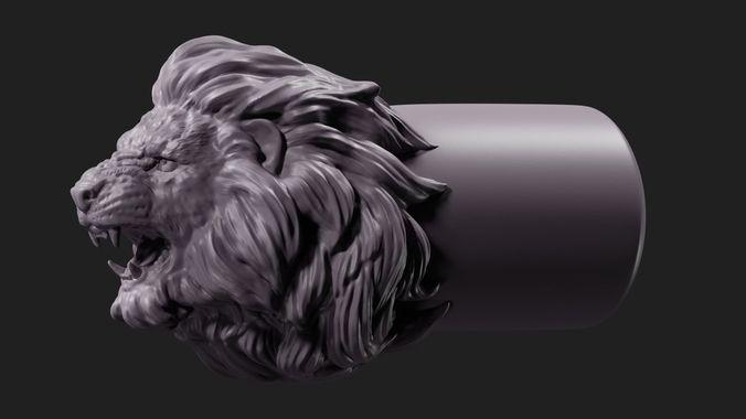 lion face tip 3d model obj mtl fbx stl blend 1