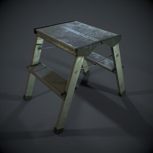pbr metal stepladder 3d model low-poly obj mtl 3ds fbx 1