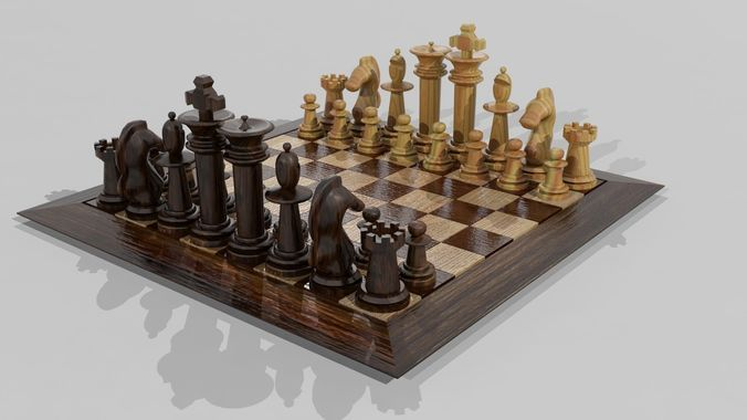 wooden chess set 3d model low-poly max obj mtl 3ds fbx 1