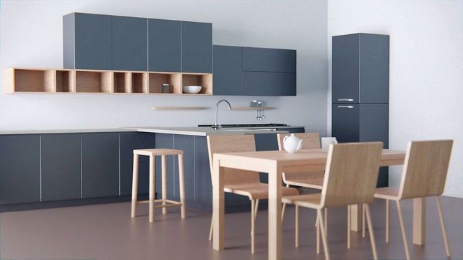 Kitchen - Modern design with wooden table