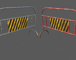 Low Poly Traffic Barrier 3D asset game-ready