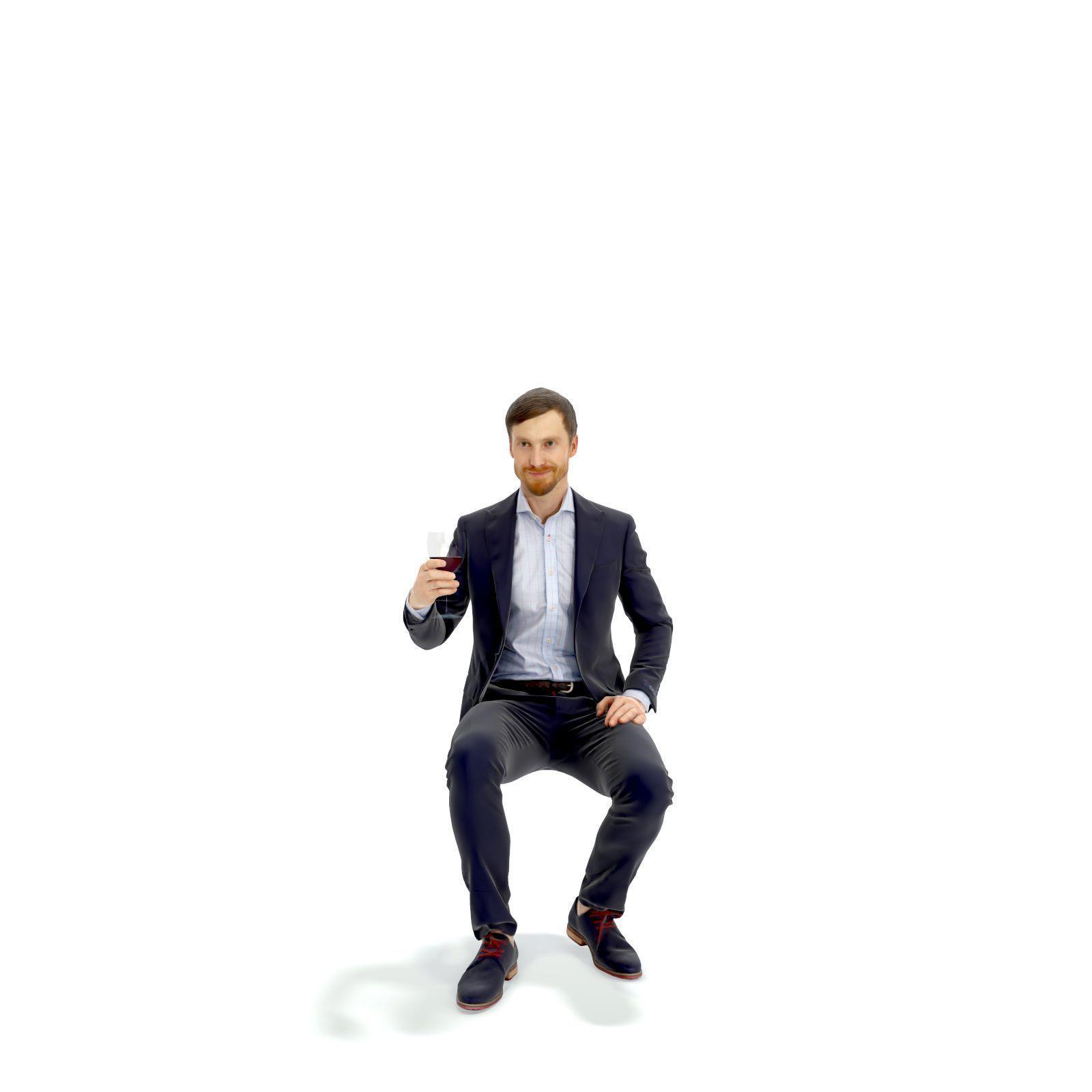 Sitting Elegant Man Cheering with Glass EMan0313-HD2-O03P01-S