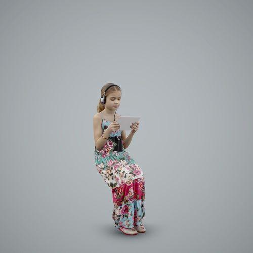 casual girl with headphones and tablet cgirl0003-hd2-o03p01-s 3d model max obj mtl c4d tga 1