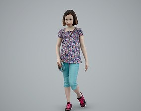 3D Girl Wearing Blue Shorts and Shoulderbag