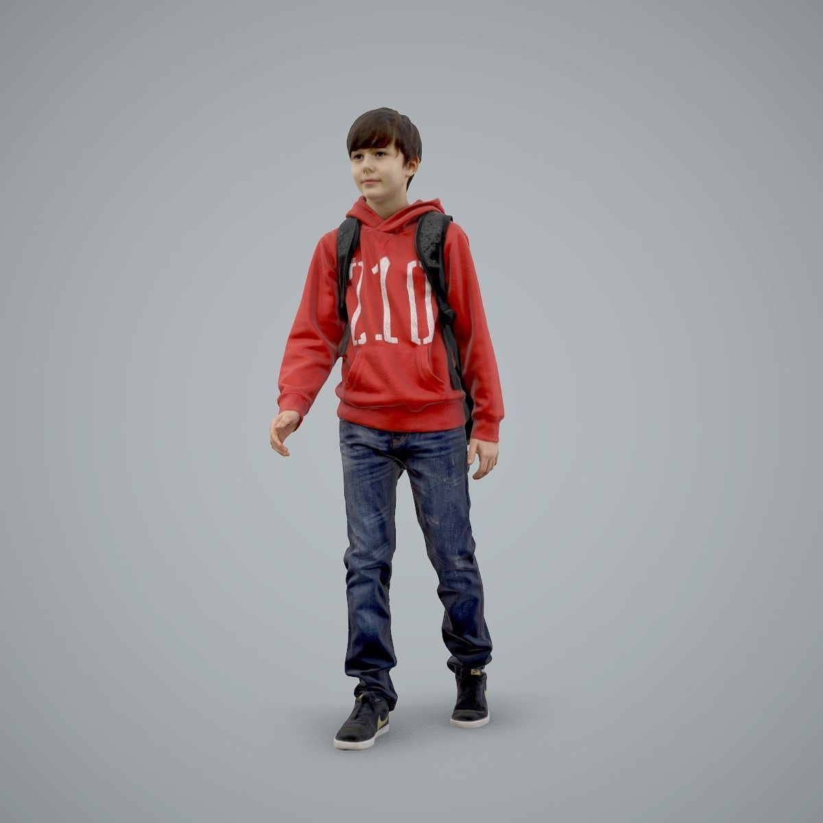 standing Casual Boy with Red Sweatshirt CBoy0004-HD2-O02P01-S