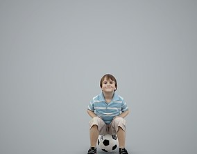 Playful Boy Sitting on Soccer Ball 3D model