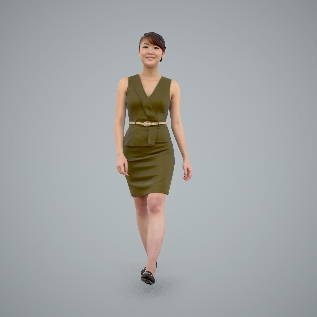 Walking Business Woman with Dress BWom0100-HD2-O02P02-S