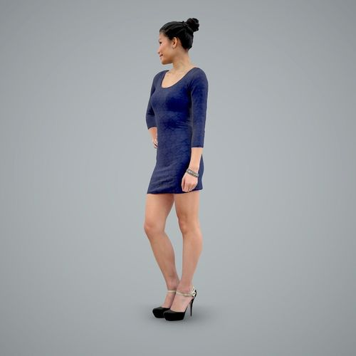 Woman With Short Blue Dress And Heels 3d