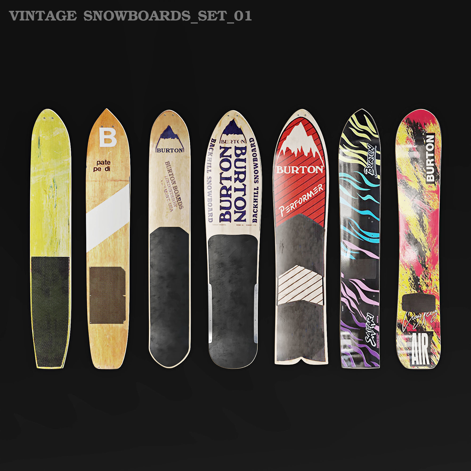Burton Vintsge Snowboards Wall Decor 3d Model