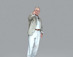 Elder Casual Man Pointing Finger CMan0016-HD2-O01P16-S 3D