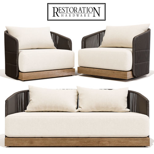 Restoration Hardware Havana Sofa 68 With Lounge And Swivel Chair 3D Model