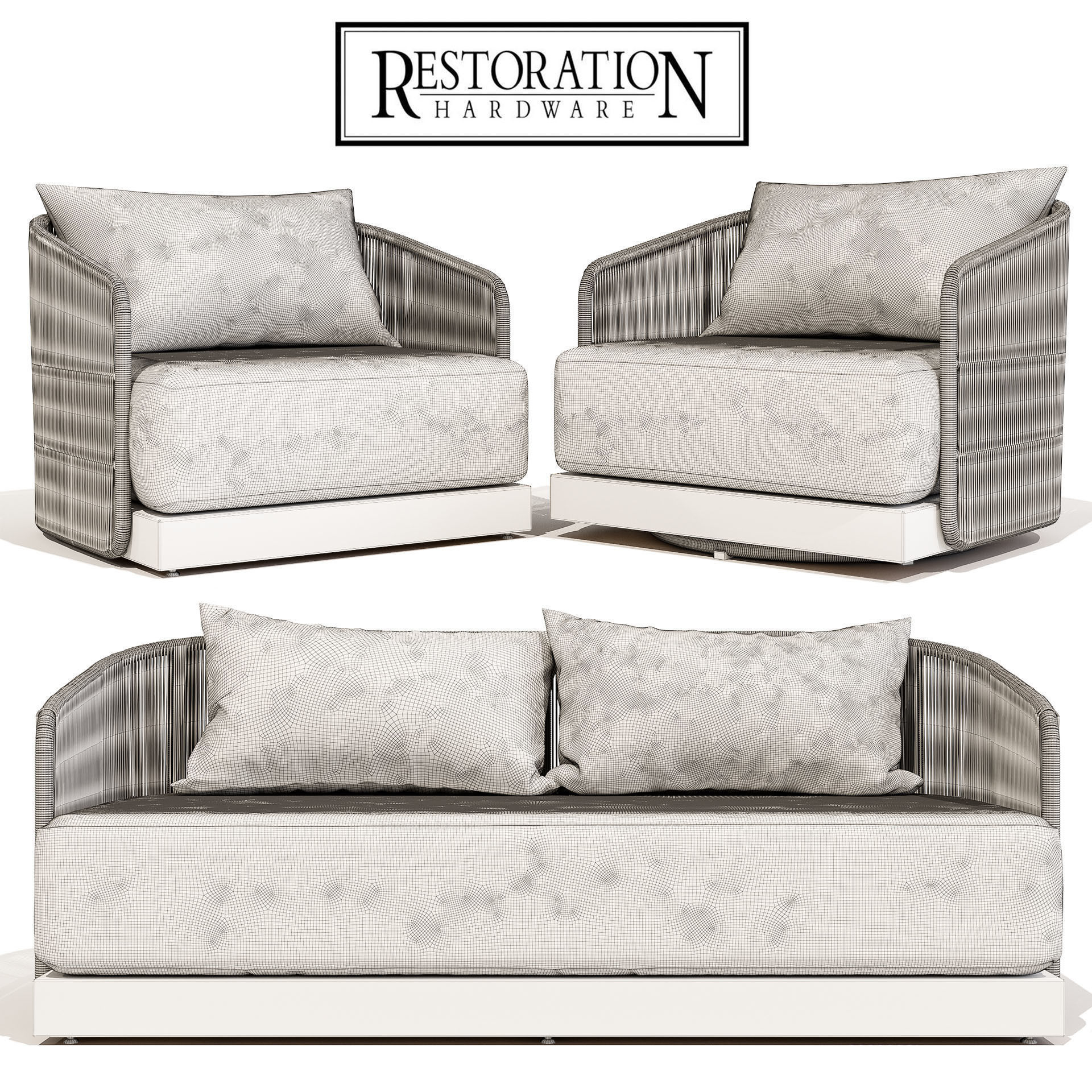 Restoration Hardware Havana Sofa 68 With Lounge And Swivel Chair Model Max Obj Mtl 2