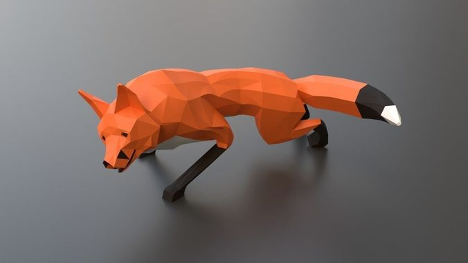 lowpoly red fox 3d model rigged obj mtl fbx blend 1