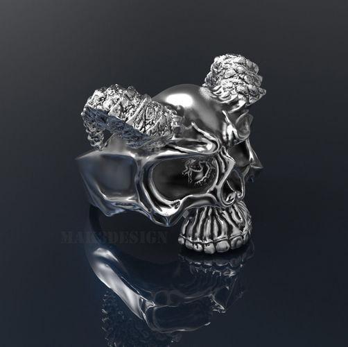 Mens Skull Ring with Horns Silver Skull rings  Size - 20mm