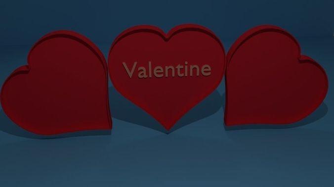 heart valentine love 3d model obj mtl 3ds fbx stl blend dae 1