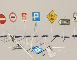 3D model Road Signs Damaged