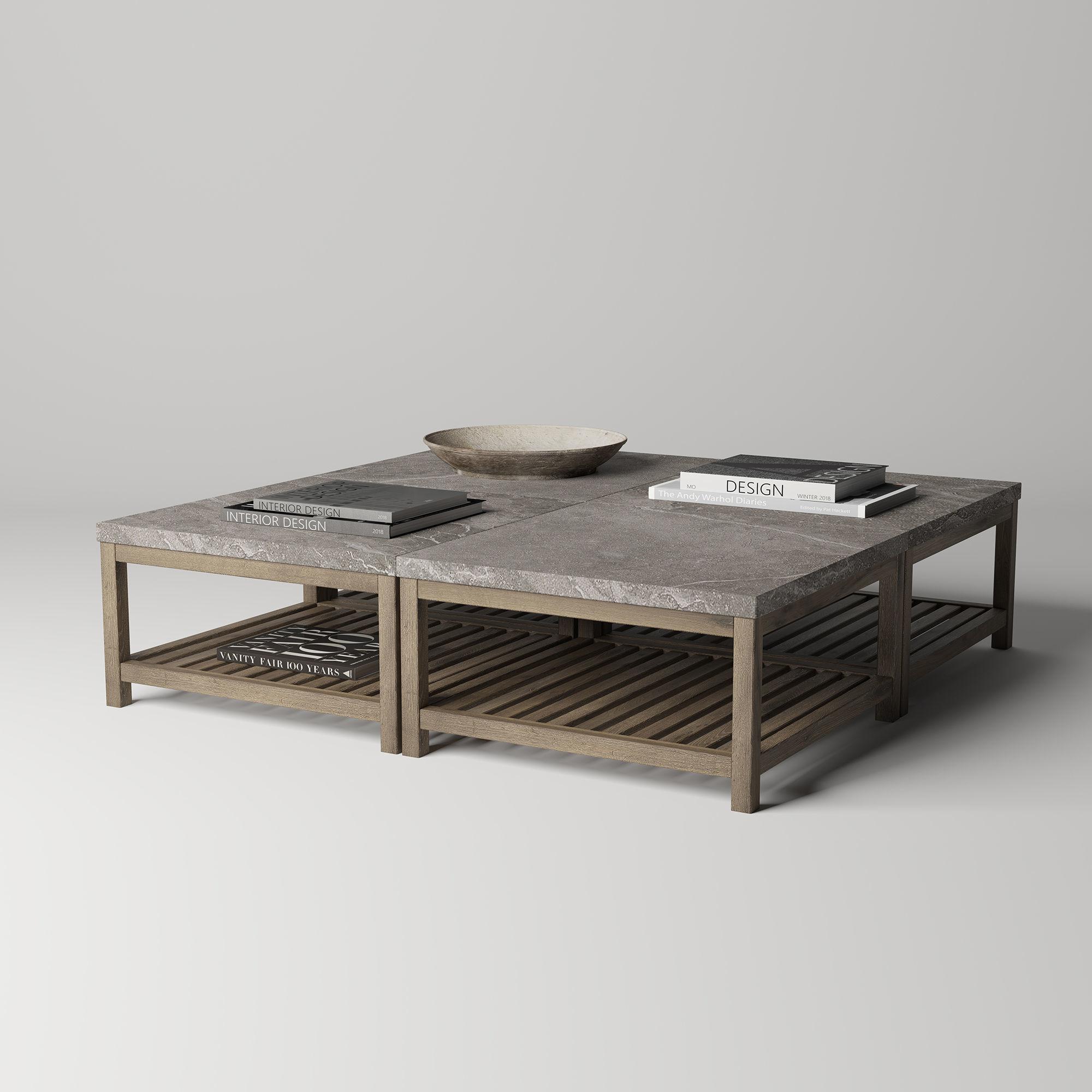 Marvel Stone Top Rectangular Coffee Table Model