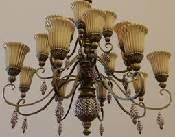 3D model game-ready Classic Chandelier