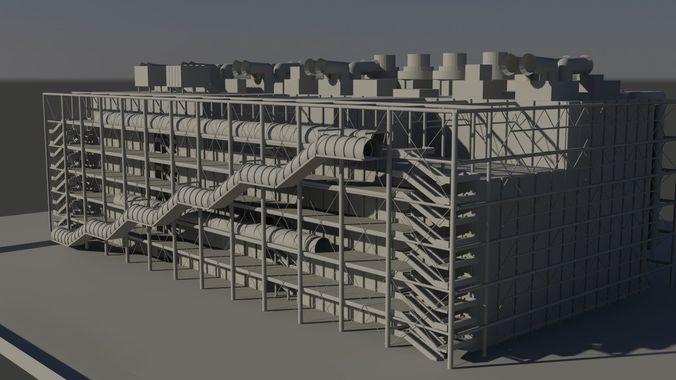 center george pompidou paris 3d model low-poly max obj mtl 1