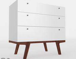 Modern 3-Drawer Dresser by West Elm 3D model