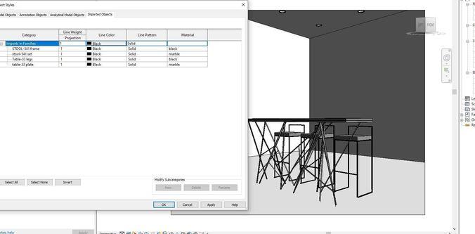 Bar table for Revit | 3D model