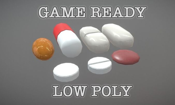 Medicine Pills Sortiment low poly game ready