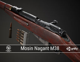 3D asset PBR Soviet Mosin Nagant M38