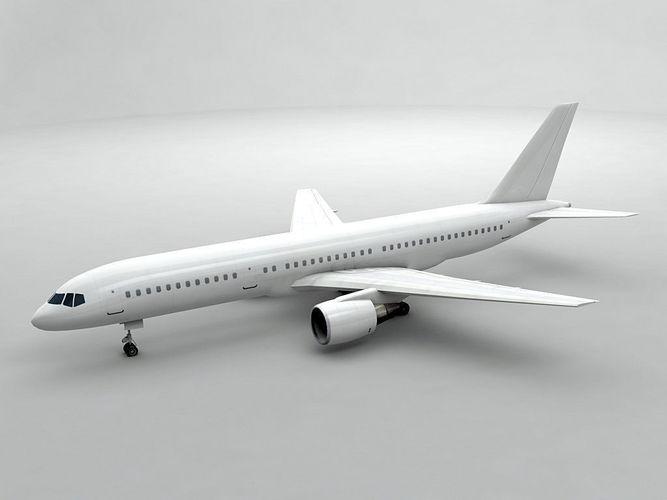 boeing 757-200 airliner - generic white 3d model max obj 3ds dxf stl wrl wrz 1
