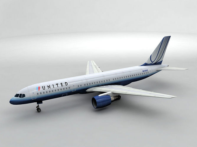 boeing 757-200 airliner - united airlines 3d model max obj 3ds dxf stl wrl wrz 1