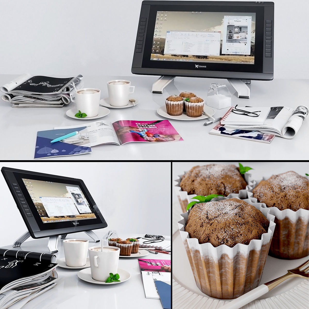 Journals Decorative Coffee Cupcakes Tablet Notebook