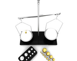 3d model laboratory scale and calibration weight set