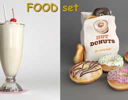 3D model Donuts collections and Milkshake - FOOD set 2
