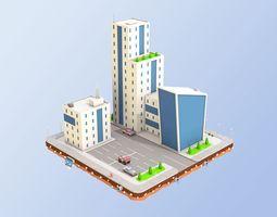 3D asset Low Poly City Buildings