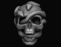 Skull with snakes 3D printable model