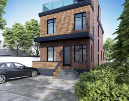 Visualization of a house in a modern style 3D
