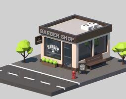 Cartoon Low Poly Building Barber Shop 3D model