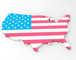 USA Map With American Flag Texture 3D model