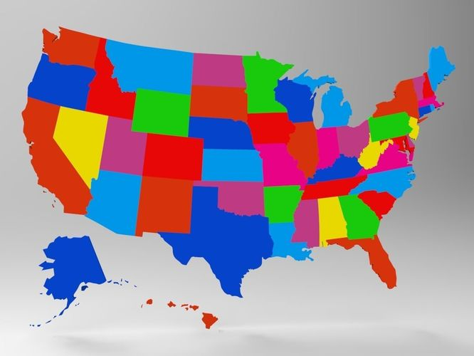 Realtime United States Map With All 50 States 3d Model